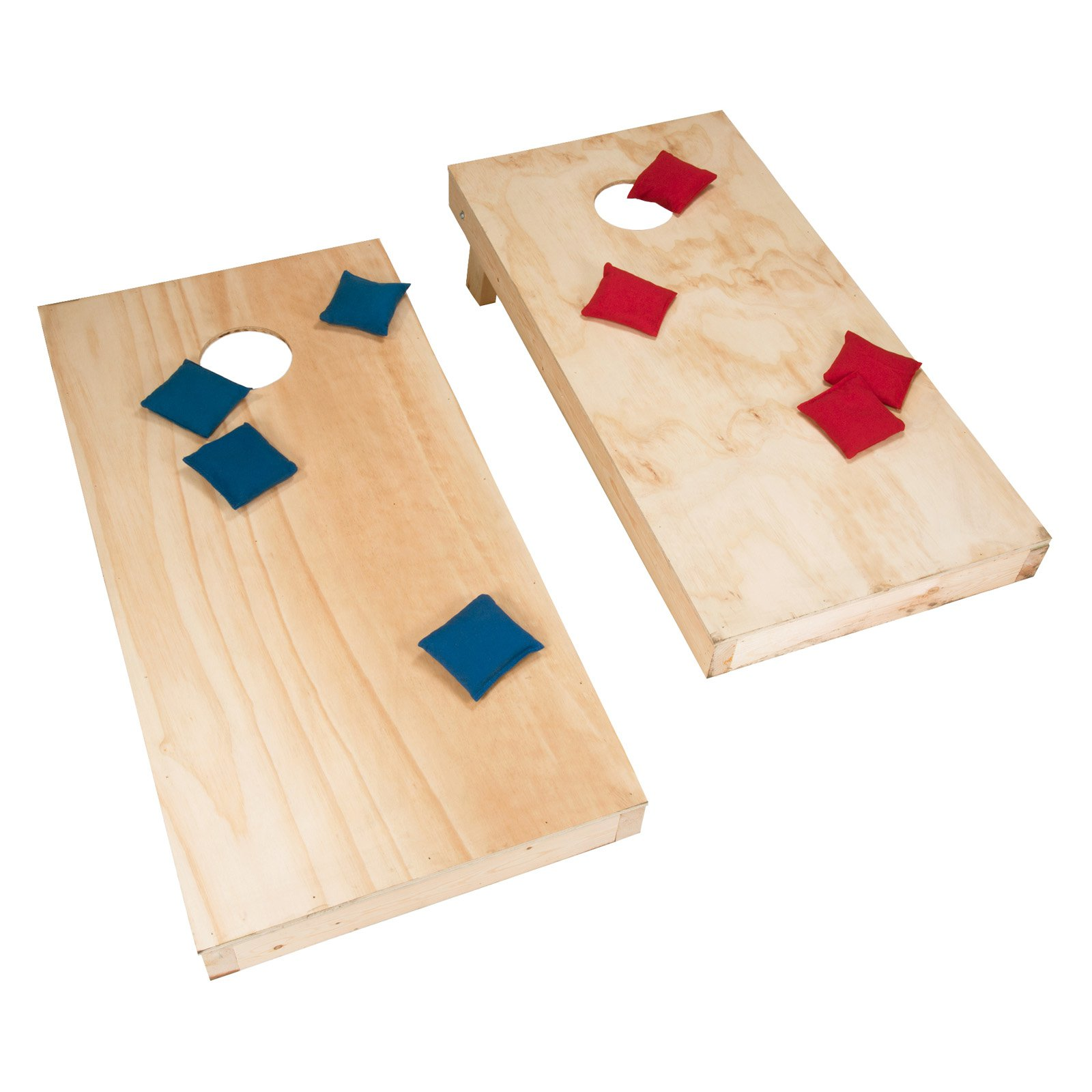 Hey! Play! Unfinished Regulation Size Wooden Cornhole Boards and Bags by Trademark Global