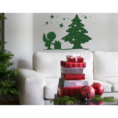 Angel Opening Presents Under Christmas Tree Wall Decal Wall Sticker Vi