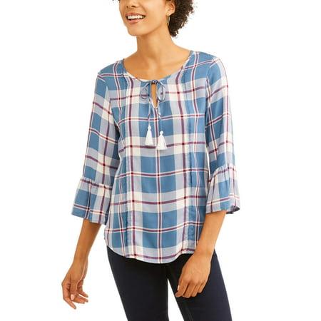 e Women's Plaid Peasant Top (Peasent Clothing)