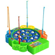 Fishing Game Toy Set with Single-Layer Rotating Board Includes 15 Fish and 4 Fishing Poles, Safe and Durable Gift for Toddlers and Kids