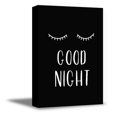 Awkward Styles Good Night Printed Wall Art Kids Bedroom Printed Art Good Night Canvas Wall Art Closed Eyes Poster for Kids Room Black Canvas Inspirational Wall Art Kids Bedroom Decor (Decor Ideas For Bedroom Black And White)