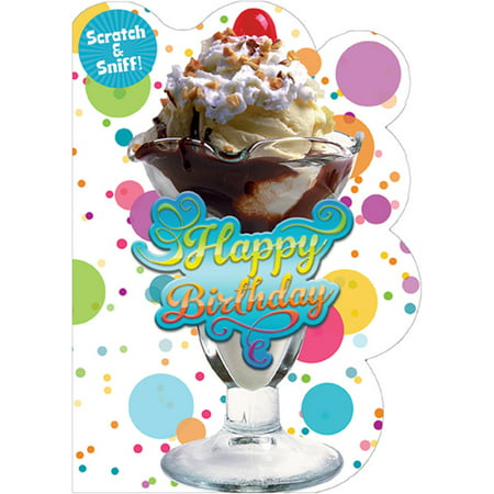 Paper House Productions Ice Cream Sundae Scratch and Sniff Birthday Card For Kids