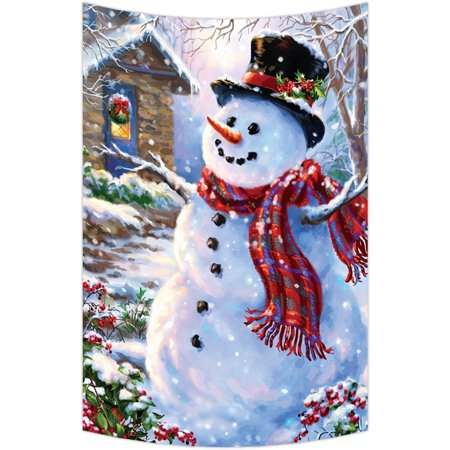 GCKG Christmas Snowman Xmas Santa Claude Wall Art Tapestries Home Decor Wall Hanging Tapestry Size 60