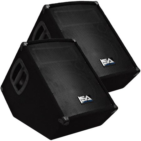 "Seismic Audio Pair of Powered 10"" Floor Monitor PA DJ PRO Audio Speakers - Active 10"" Monitors - SA-10MT-PW-Pair"