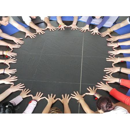 Unit Circle - Canvas Print Unit Mandala Circle Yoga Team Hands Stretched Canvas 10 x 14