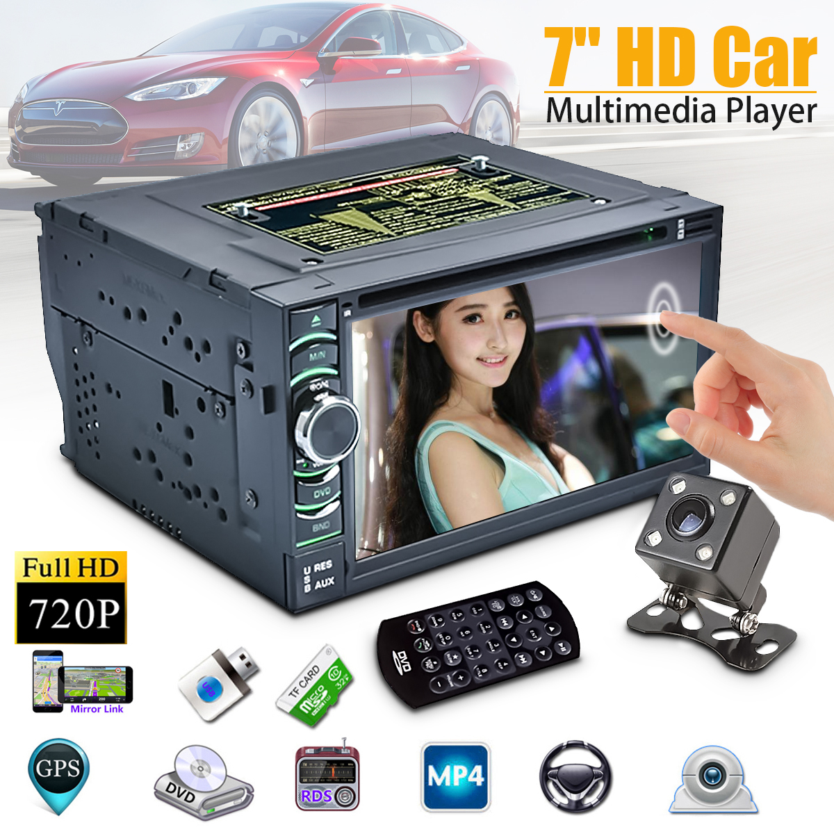 "Full HD 720P 7"" 4 Core Android 6.0 Car DVD Player GPS Rec..."