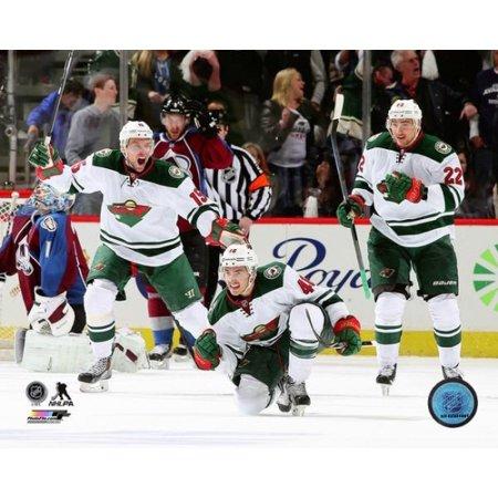 Jared Spurgeon Dany Heatley & Nino Niederreiter 2013-14  Playoff Action Photo Print