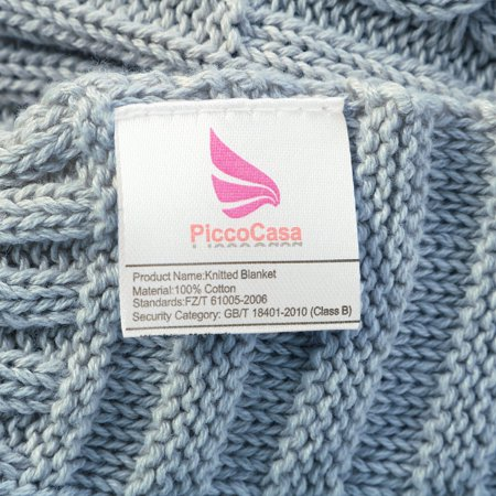 """Knitted Throw Blanket for Sofa Couch Soft 100% Cotton Blanket Pale Blue 30""""x40"""" - image 1 de 8"""