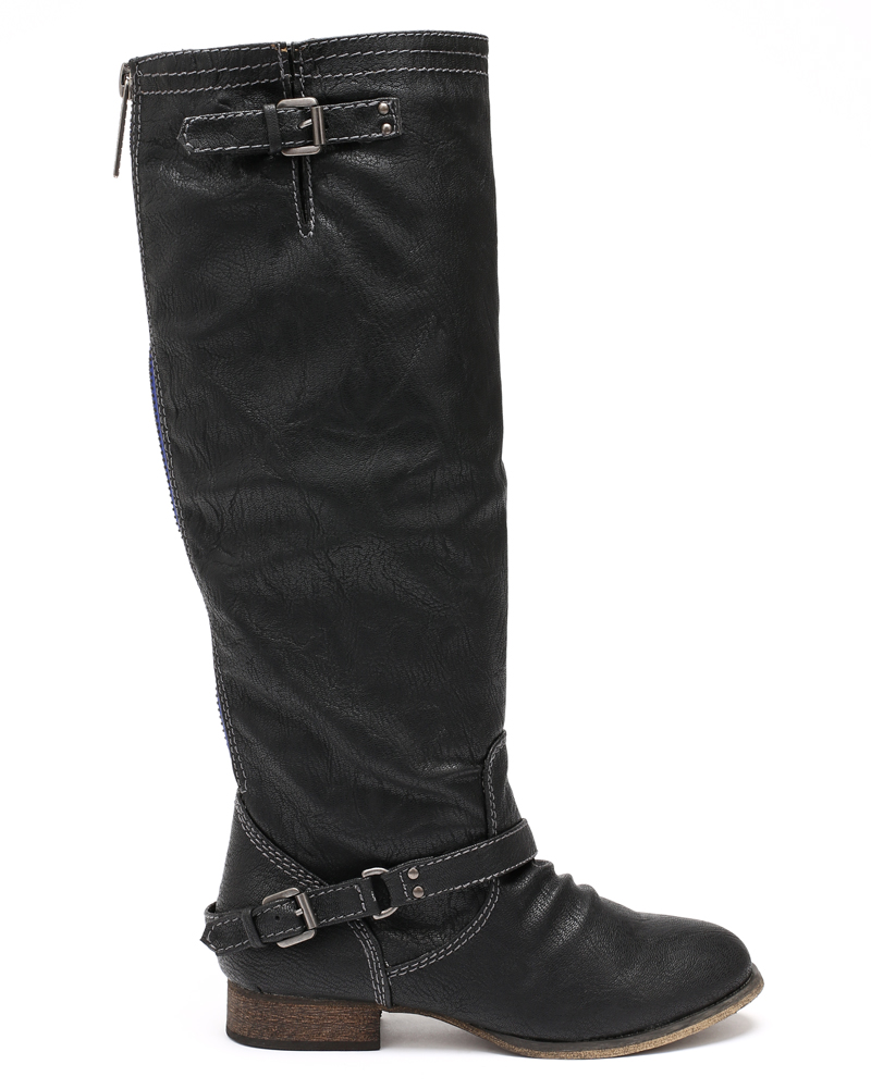 Breckelles Women Leatherette Buckle Zipper Riding Knee High Boot AD48