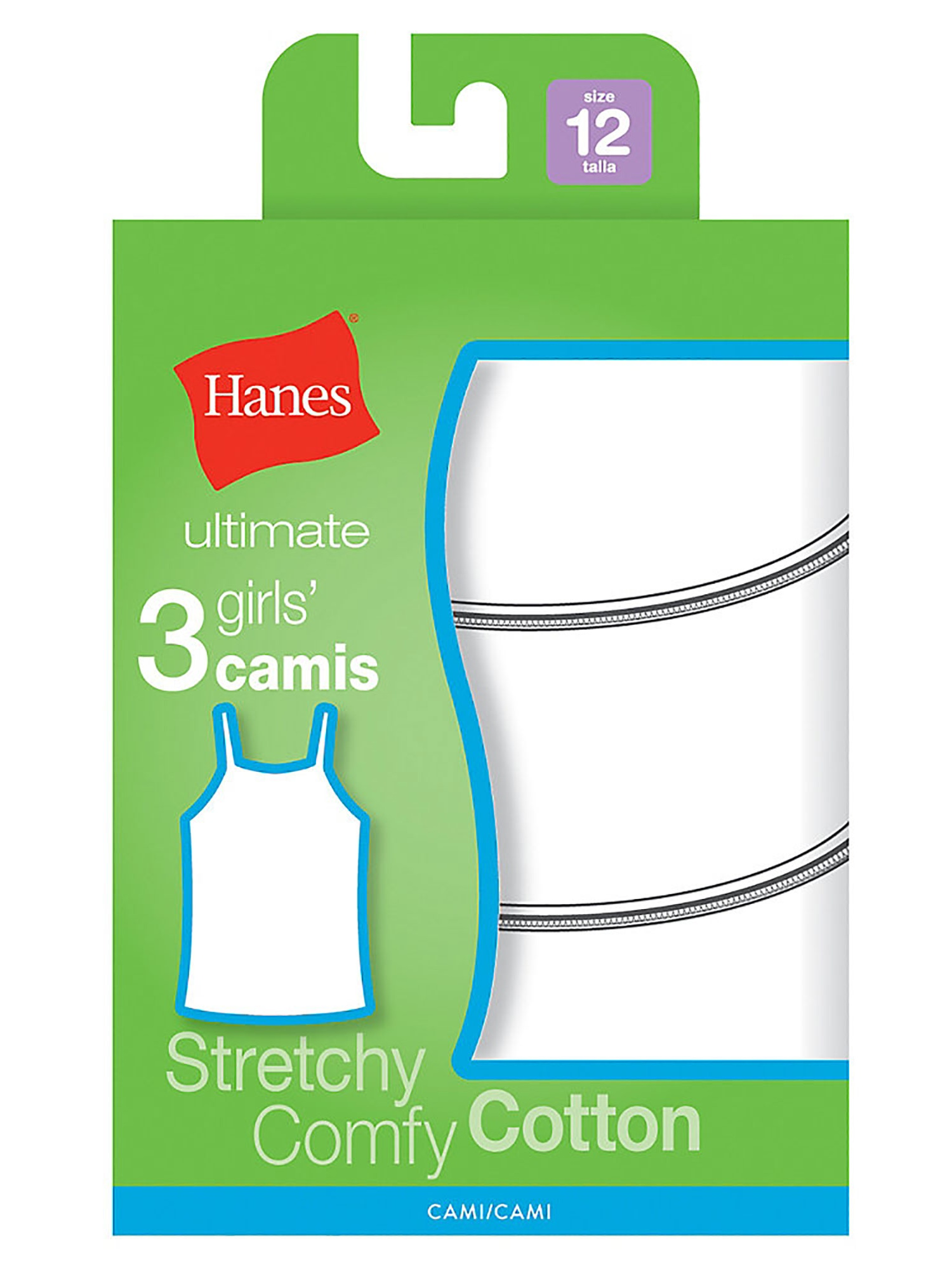 Hanes Ultimate TaglessCotton Stretch Girls' Cami White 3-Pack, Style GURBCM