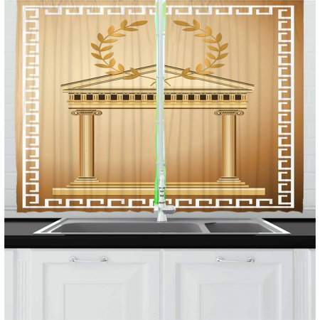 Togas Greek Or Roman (Toga Party Curtains 2 Panels Set, Antique Temple with Roman Olive Branch and Greek Architecture Motif, Window Drapes for Living Room Bedroom, 55W X 39L Inches, Pale Brown and Coffee,)