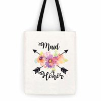 Maid Of Honor Floral Wedding Cotton Canvas Tote Bag School Day Trip Bag
