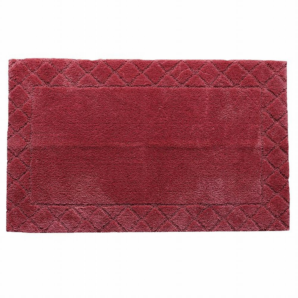 Chaps Cranberry Red Plush Pile Throw Rug 20x34 Skid Resistant Bath Mat