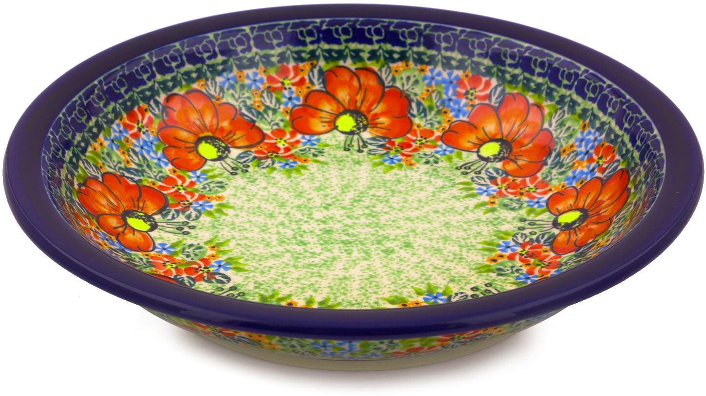 Polish Pottery 9-inch Pasta Bowl (Garden Meadow Theme) Signature UNIKAT Hand Painted in Boleslawiec, Poland +... by Zaklady Ceramiczne