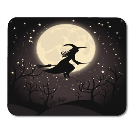 LADDKE Halloween Witch Broom Hat Moon Silhouette Woman Autumn Beautiful Mousepad Mouse Pad Mouse Mat 9x10 inch (Halloween Witch Silhouette)