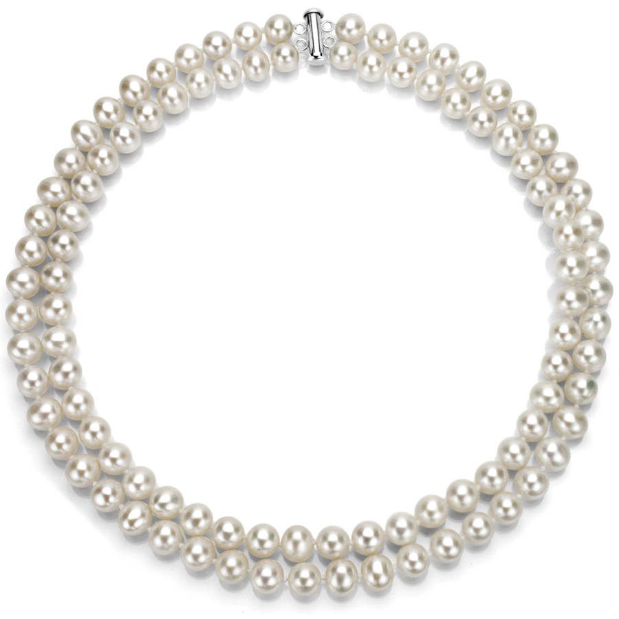 """White Freshwater Pearl Necklace for Women, Sterling Silver 2 Row 17"""" & 18"""" 9mm x 10mm by Generic"""