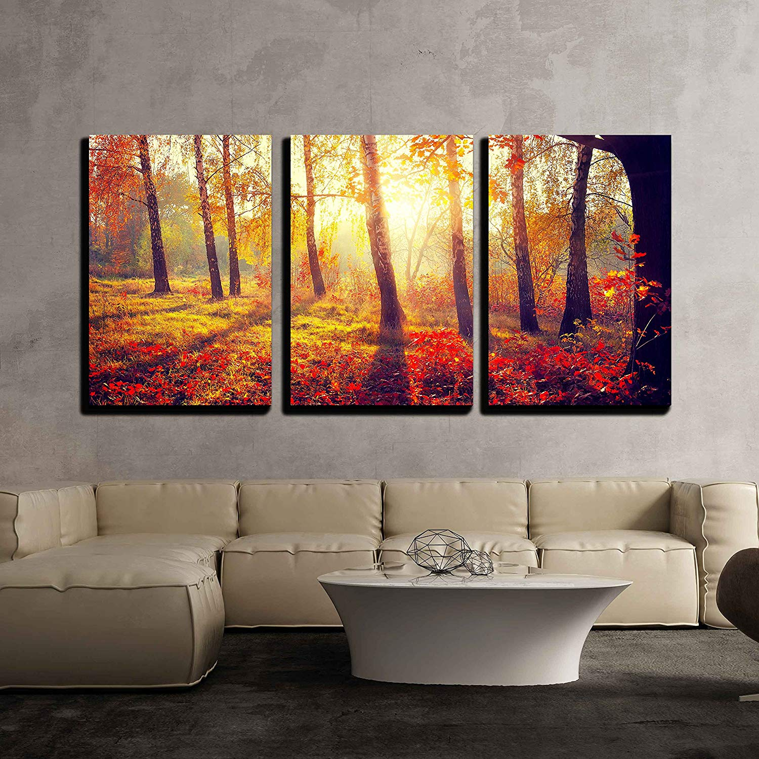 Removable Wall Mural wall26 Autumn Forest Scenery with Rays of Warm Light Illumining the Gold Foliage Self-adhesive Large Wallpaper