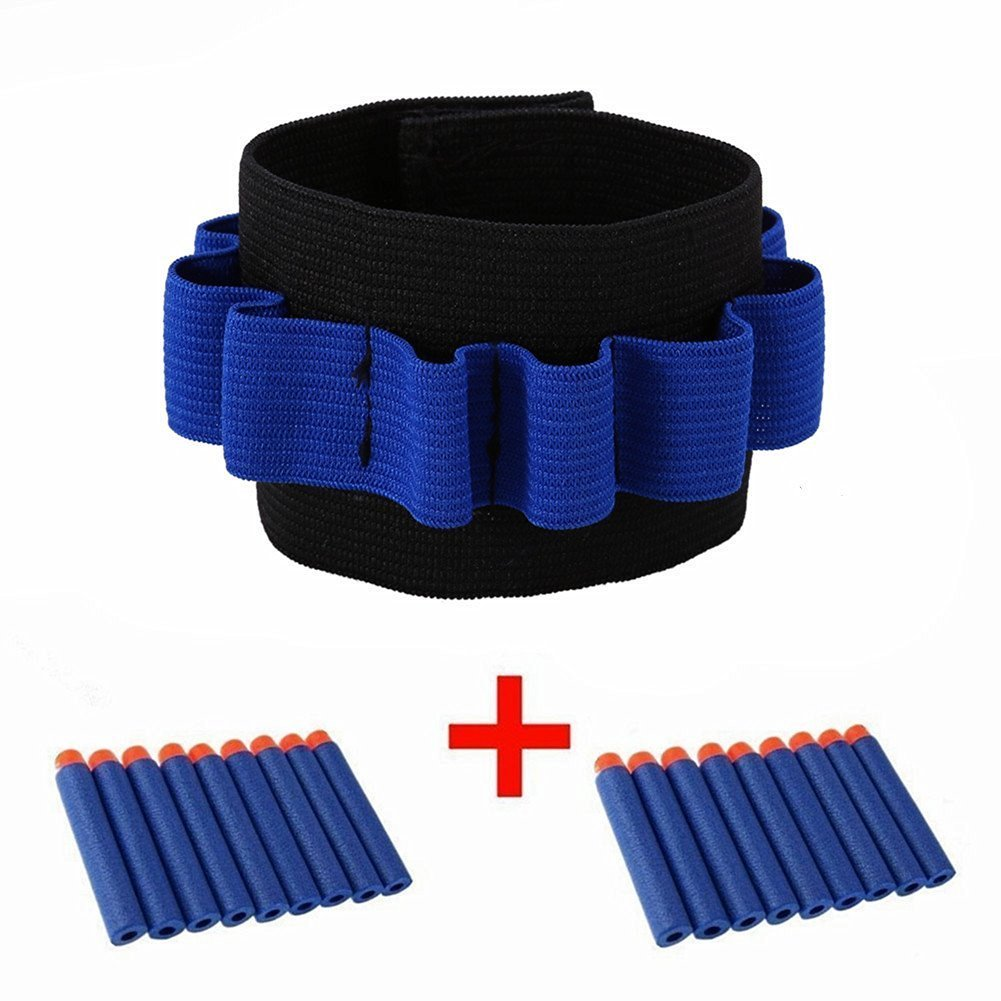 Kids Elite Tactical 20pcs 7.2cm Blue Refill Soft Foam Bullet Darts+1pcs Wrister Wrist band for N-strike Elite Series Blasters Toy Gun