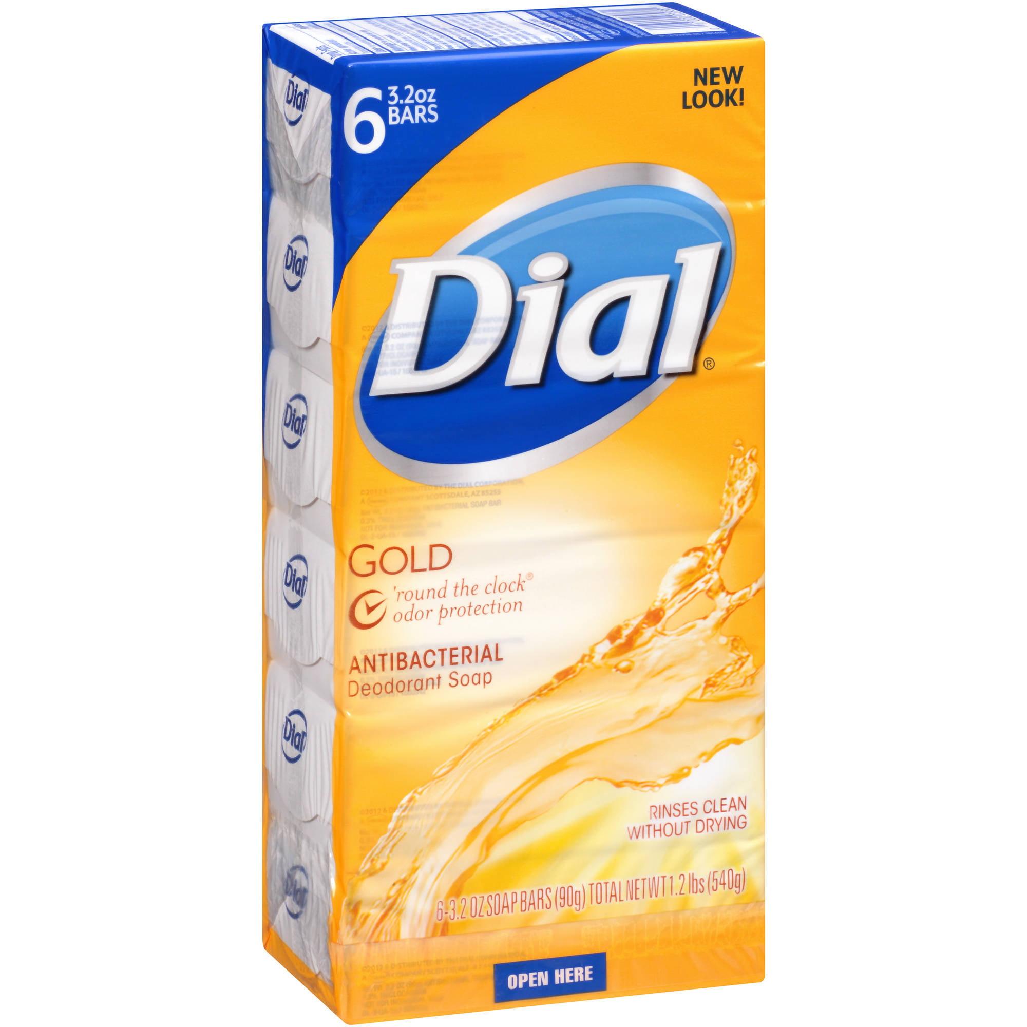 Dial Gold Antibacterial Deodorant Bar Soap, 6-Pack