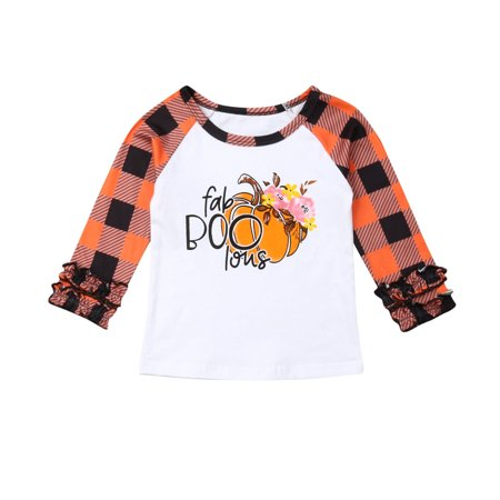 2019 Kids Autumn Clothing Halloween Toddler Baby Girls Plaid Pumpkin Print Tops T-shirt Cute Petal Sleeve Clothes Outfit