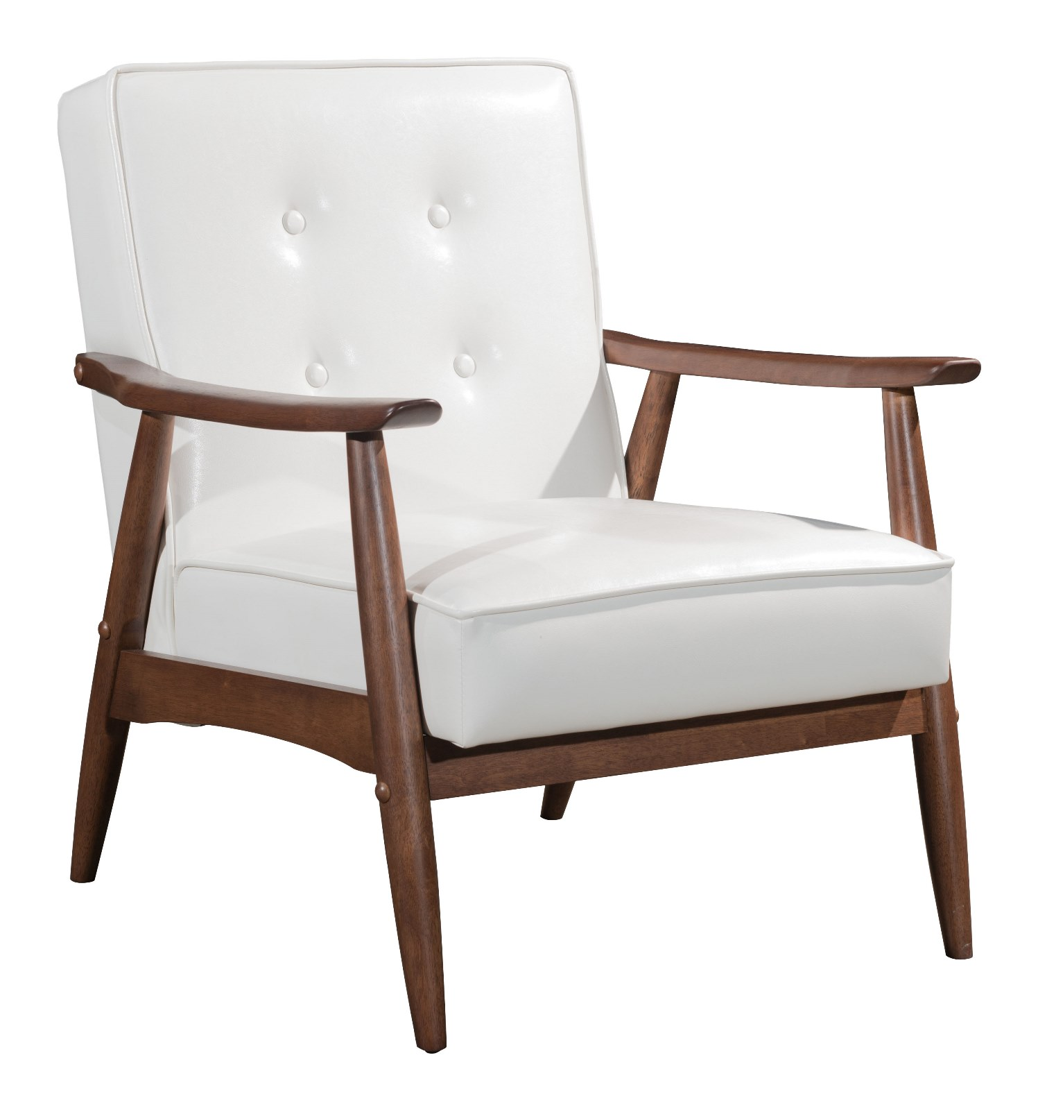 Modern Contemporary Urban Living Room Office Lounge Armchair, White - Faux Leather Leatherette Rubber Wood