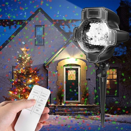Christmas Projector Lights, Rotating IP65 Waterproof Sparkling Landscape Projection Light for Decoration Lighting with Remote Control,32ft Power Cable on Christmas Halloween Holiday Party