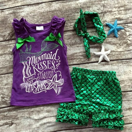 Infant Toddler Baby Kids Girl Outfits 3PCS Little Mermaid Vest Tops+Shorts+Headband Costumes Clothes - Mermaid Costume For Baby