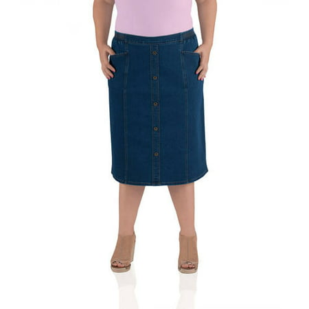 b4dfcee73f Just My Size - Women's Plus-Size 28 Stretch Denim Skirt - Walmart.com