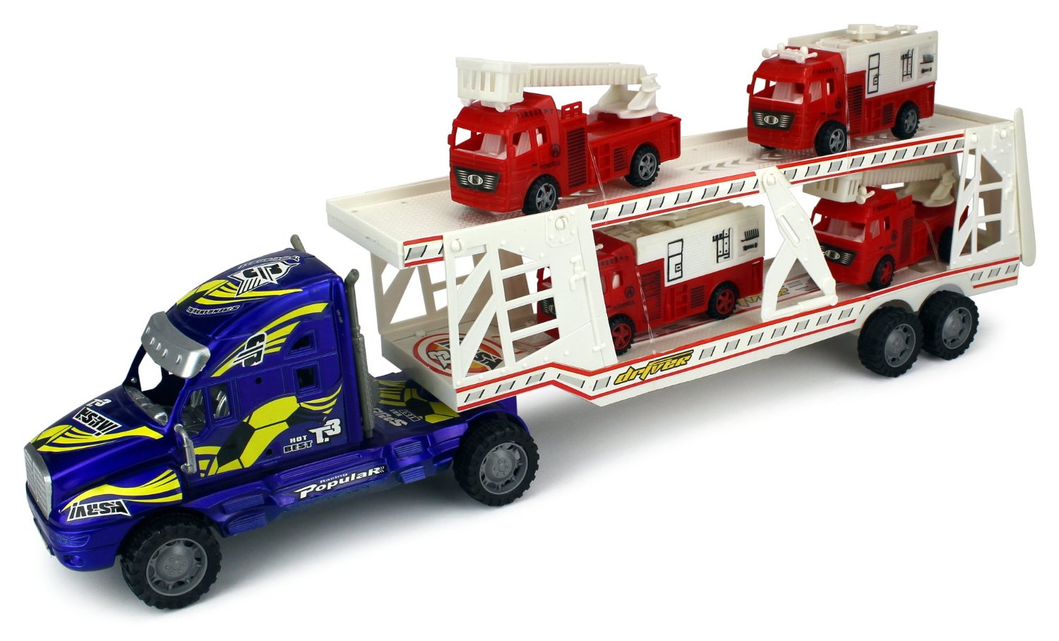 Fire Dept. Trailer Children's Kid's Friction Toy Truck Ready To Run w  4 Toy Fire Trucks,... by Velocity Toys