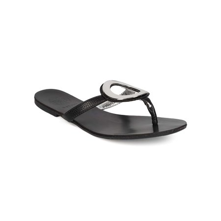 EH64 Women Leatherette Thong Strap Looped Slip on Sandal