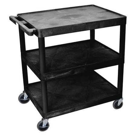 LUXOR TC222-B Utility Cart,400 lb. Cap., PE,3 Shelves G7713781