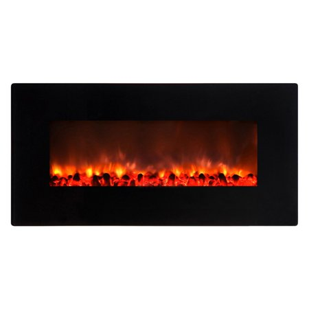 Yosemite home decor carbon flame 35 wall mount electric for Decor flame electric fireplace