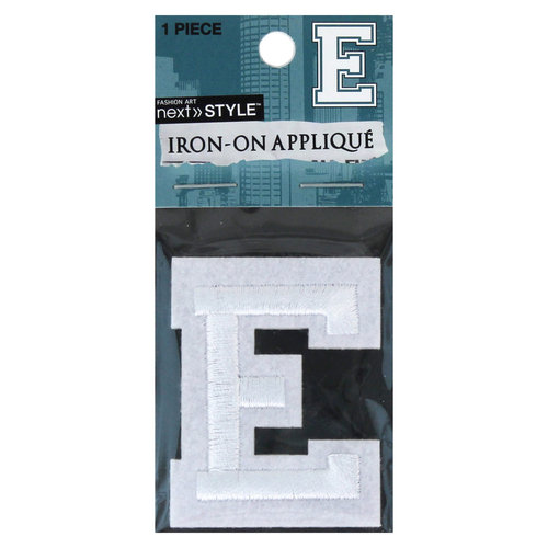 "Next Style Single Embroidery Letter, ""E"", White"