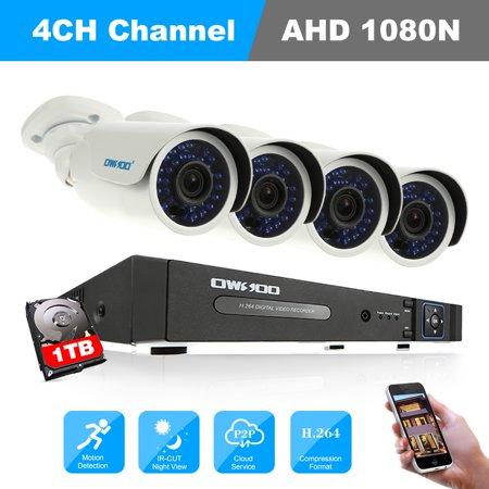OWSOO 4CH Channel Full AHD 1080N CCTV Surveillance DVR Security System P2P Cloud Onvif Network Digital Video Recorder + 1TB Hard Disk + 4*720P