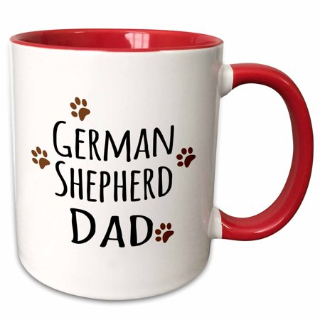 Have Paws Mugs - 3dRose German Shepherd Dog Dad - Alsatian - Doggie by breed - brown muddy paw prints - doggy lover - Two Tone Red Mug, 11-ounce