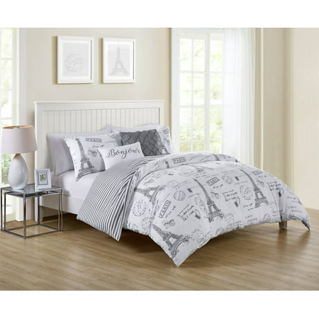 VCNY Home Taupe Paris Night 4/5 Piece Bedding Duvet Cover Set, Shams and Decorative Pillows Included ()
