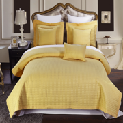 Luxury Soft Checkered Diamond Stitched 3 Piece Coverlet Set Wrinkle-Free Reversible All Season Mini Bedspread Set -Gold-Full/Queen