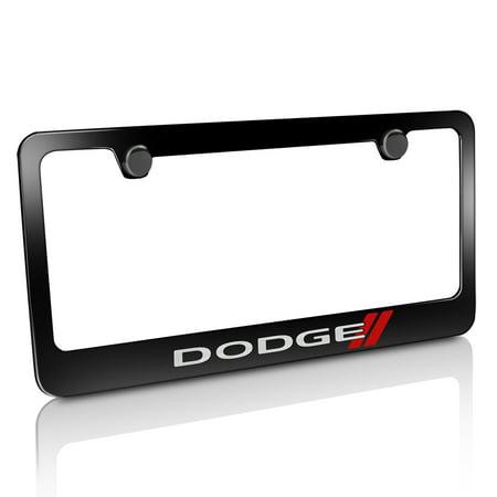 Dodge License Plate Frame (Dodge New Logo Black Metal License Plate)