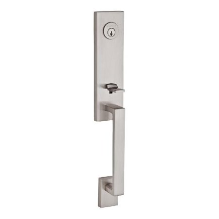 Baldwin SC.SEAXSQU.L.CSR.150.S.THK Single Cylinder Seattle Handleset Left Hand Square Lever & Contemporary Square Rose with Smartkey for Thick Door, Satin Nickel - image 1 de 1