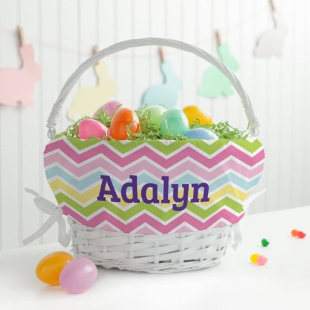 Personalized Girls' Easter Basket - Chevron Liner