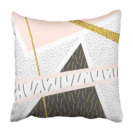 BPBOP Creative Stylish Hipster Pattern Modern Abstract Composition With Gold Glitter Doodle Pillowcase Cover 16x16 inch
