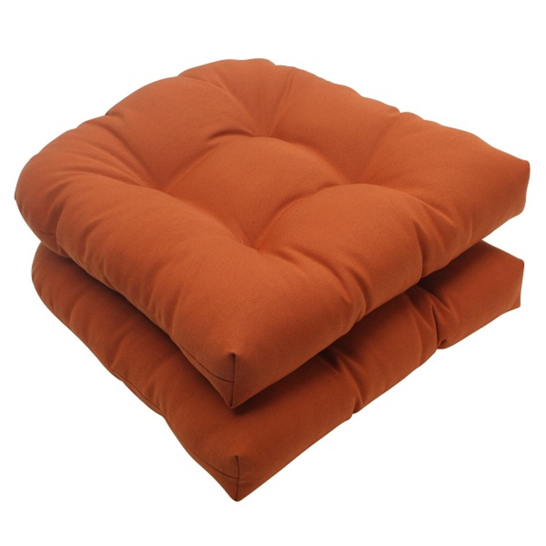 Set Of 2 Cinnamon Burnt Orange Outdoor Patio Tufted Wicker Seat