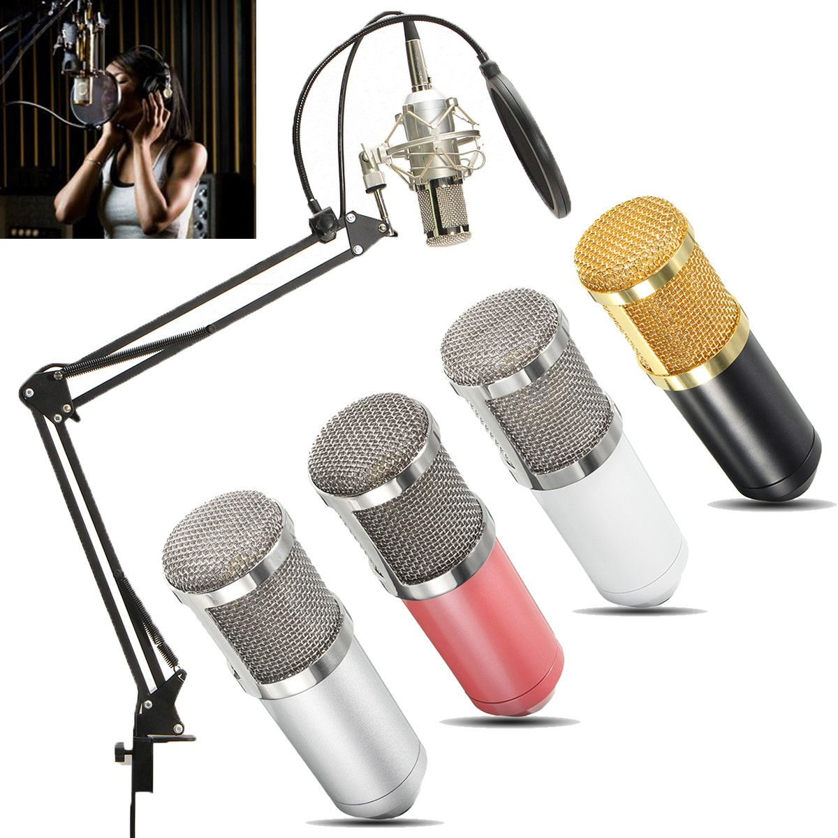 BM-800 Studio Broadcasting Recording Condenser Microphone Mic Kits Include Adjustable Mic Suspension Scissor Arm, Shock Mount, Double-layer Filter and Sponge Cover