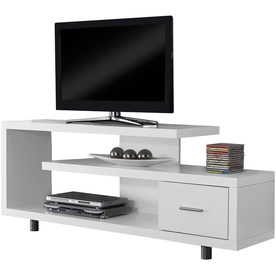 tv stand white monarch tv stand white with 1 drawer for tvs up to 47 quot l 28785