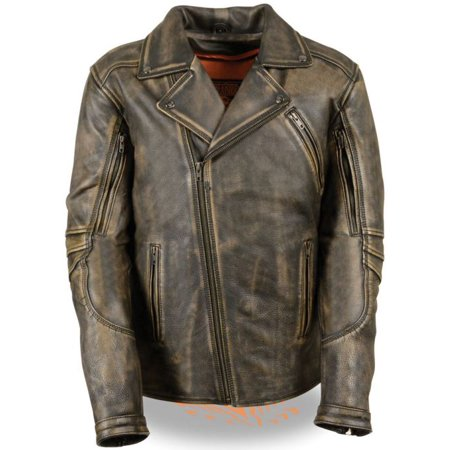 Milwaukee Mens Triple Stitch Beltless Biker Jacket Brown