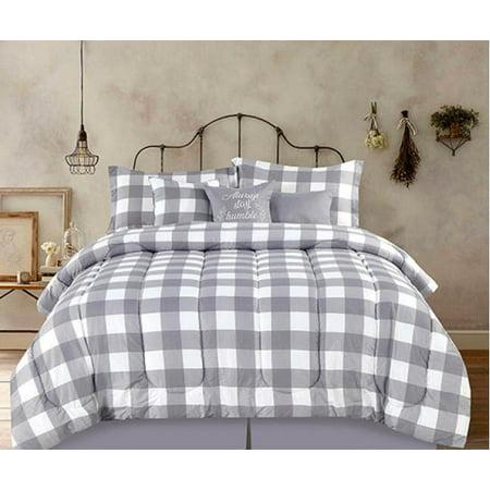 Country Farmhouse Rustic Plaid Buffalo Check Gray & White King 7 Piece Comforter (Creek Comforter Set)