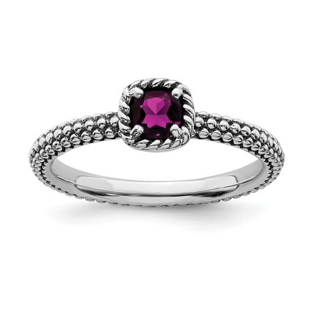 925 Sterling Silver Checker Cut Rhodolite Red Garnet Band Ring Size 9.00 Stackable Gemstone Birthstone June Fine Jewelry Ideal Gifts For Women Gift Set From Heart Designer Rhodolite Earrings