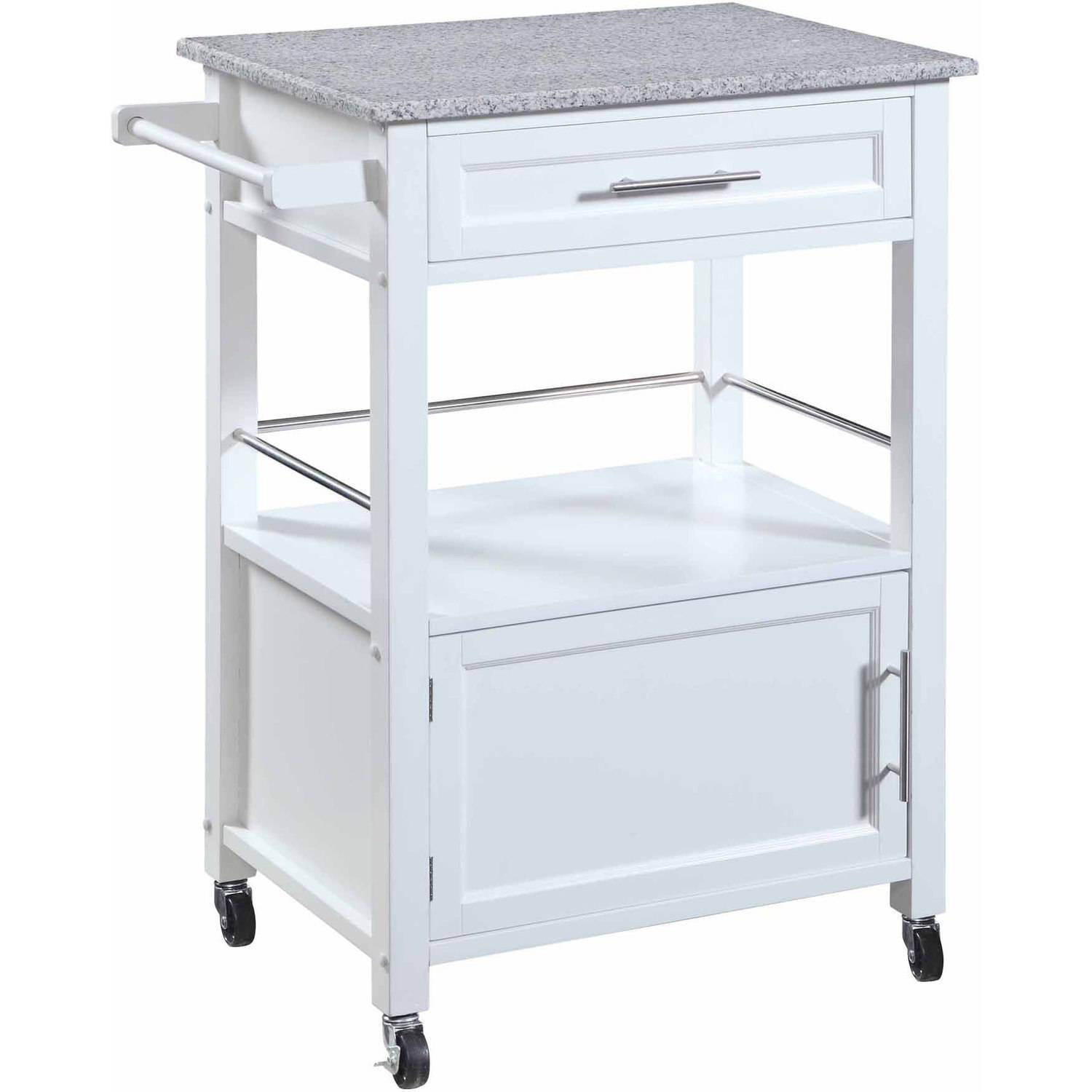 Mitchell Kitchen Cart with Granite Top, White Finish