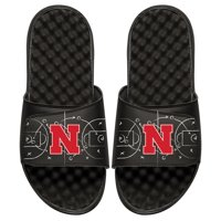 Nebraska Cornhuskers ISlide Youth Chalk Court Slide Sandals - Black
