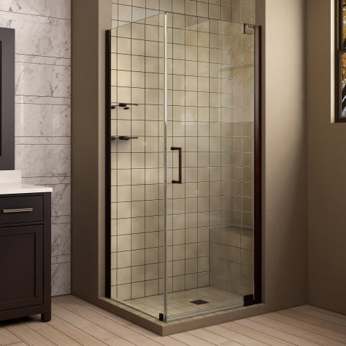 "DreamLine SHEN-4134341 Elegance 72"" High x 34"" Wide x 34"" Deep Pivot Frameless S"